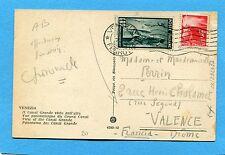 1949 ERP £.5  + DEM.£.3 ann.VENEZIA su cartolina per la FRANCIA (232497)