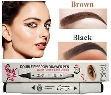 Double Eyebrow / Eyeliner Drawer Pen, Waterproof Long Lasting-Make up 2 In 1 Set