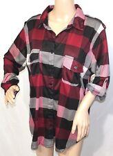 French Laundry Women Plus Size 1x 2x 3x Burgundy Plaid Jacket Button Down Shirt