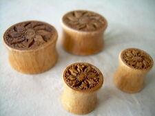 1 PAIR Lotus Flower Organic Rose Wood Ear Plugs Double Flare Gauges