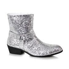 "Mens Disco Fever 1.5"" Heel Silver Glitter Calf Boots"