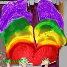 Pair belly dance 100%silk fan veil Red/orange/yellow/green/purple 1.5m 1.8m long