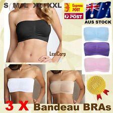 3 x Ladies Strapless Bra Bandeau - Padded & Seamless, ALL COLOURS S M L XL XXL