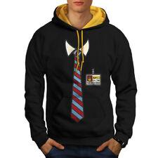 Full Time Nerd Tie Geek Men Contrast Hoodie NEW   Wellcoda