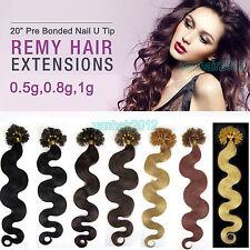 "20"" Pre Bonded Nail U Tip Keratin Fusion Remy Human Hair Extensions 100s Wavy"