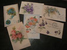 6 cpa fantaisie gauffré fleur rose myosotis violette 10