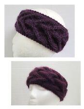 Plum mohair alpaca hand knit handmade women's headband headwrap warmer