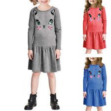 YTR Cat Print Children Long Sleeve Cartoon Baby Girl Cotton Party Dresses