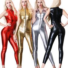Women's Sexy Bodysuit Zipper Clubwear Wet Look Catsuit Leotard Costume M XL XXL