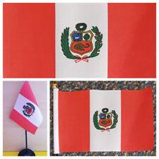 Peruvian Hand Table Flag Peru Football Blanquirroja Incas Lima South America bn