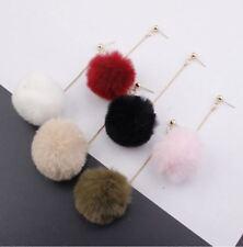 Fashion SoftFur Pompom Long Earrings Tassel Dangle Drop Women Earrings Jewelry
