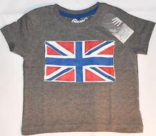 Boys Union Jack Flag T-Shirt British UK Grey Cartoon PRIMARK Sizes 1-8 years NEW