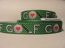 Grosgrain Ribbon, Golf Game, Sports, Golf Ball with Heart, Golf Club Chevron 7/8