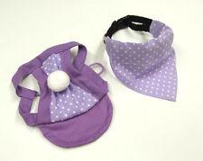Chapeau pour Chiens -Casquette + écharpe * Violets à Pois* Casquette pour Chiens