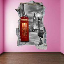 Red Phone Box Booth Big Ben London 3D Wall Art Sticker Mural Decal Poster FZ28