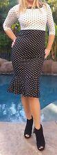 Maya Antonia-Retro Black-White Polka Dots Midi Dress 3/4 Sleeves