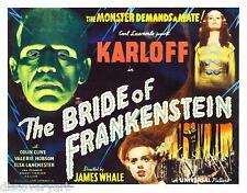 SPOSA di Frankenstein 1935 Pellicola MULTITAGLIA CANVAS Wall Art movie poster stampa