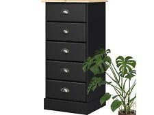 Dresser Cabinet with Drawers 5 Drawers Pine Wood Black White Apothekerkommode