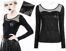 Top haut gothique punk lolita militaire motifs résille sangles fashion PunkRave