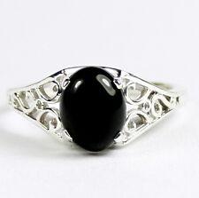 Black Onyx, Solid 925 Sterling Silver Ladies Ring,SR005-Handmade