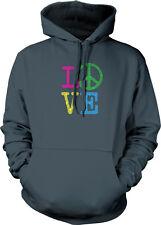 LOVE Peace Sign Letters Hippie 60s World Spread Make Heart <3 Hoodie Sweatshirt