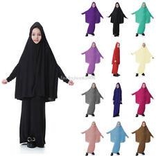 Muslim Kids Girls Kaftan Dubai Prayer Robe Islamic Abaya Hijab Big Scarf + Skirt