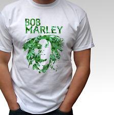 Bob Marley green - white t shirt marijuana top rasta reggae peace music design