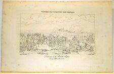 Stampa antica Old Print NAPOLEONE BONAPARTE ad EYLAU in Russia 1822