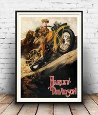 Harley Davidson :  Vintage motor bike advert ,  Poster reproduction.