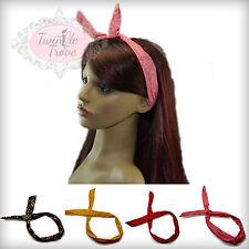 Retro Bunny Ears Wire Wired Head Wrap Headband Headwrap; Skull Polkadot Patterns