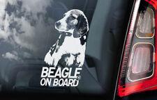 Beagle on Board - Car Window Sticker - English Dog Sign Decal Gift Idea - V01