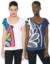DESIGUAL women's Fun imprimé fleuri blanc/bleu Lolita T-Shirt S-XXL RRP 49
