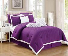 9pc Purple & White Pleated Microfiber Comforter Set, Full Queen King Cal King