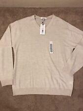 TURNBURY Extra Fine Merino Wool V-Neck Sweater ECRU HEATHER F75SR720T/B NWT$89