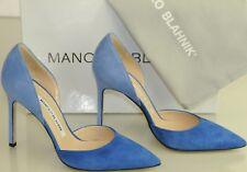 Nuevo Manolo Blahnik Tayler Bi ante Azul Zapatillas Dorsay Zapatos 35.5 39