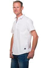 Ugholin - Chemise Homme Casual Taille ajustée Unie Blanche Coton Manches Courtes