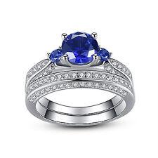 Womens Three Stone Lab Blue Sapphire 925 Sterling Silver Bridal Wedding Ring Set