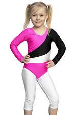 """Kinder Turnanzug Body Sportanzug """"Diana"""" pink-schwarz-weiß Größen 116 bis 164"""