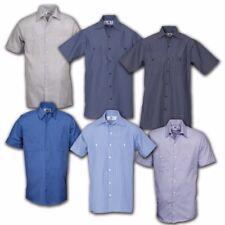 Striped Work Shirts Industrial Uniform Mechanic Short Sleeve REED Polyblend