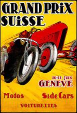 Swiss Grand Prix - Geneve - Motorcycles - Cars - Deco A3 Art Poster Print