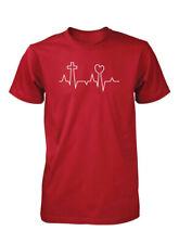 AproJes EKG Life Line Pulse Love Heart Cross Jesus Christian T-Shirt for Men