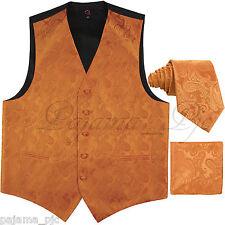 ORANGE XS to 6XL Paisley Tuxedo Suit Dress Vest Waistcoat & Neck tie & Hankie