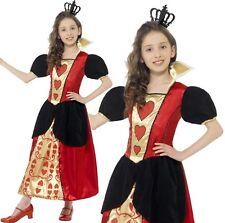 bambini MISS CUORI costume ragazze REGINA DI CUORI DA SMIFFYS NUOVO