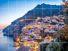 sunset Positano Amalfi coast Italy Sorrento beach ceramic tile mural backsplash