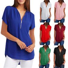 Womens Casual Tops Shirt Ladies V-Neck Zipper Loose T-shirt Blouse Tee Tops Hot