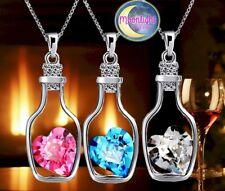 New Wine Bottle Heart Crystal Message in Love Drift Bottles Pendant Necklaces