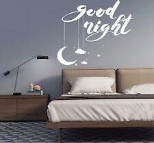 Wall Vinyl Decal Romantic Home Interior Bedroom Decor World Good Night z4535