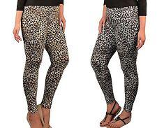 NEW COTTON Leopard Legging Pant Women Plus Size 1X 2X 3X BROWN & GRAY
