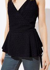 Ann Taylor LOFT Swiss Dot Wrap Cami Top Size Small Black Color NWT