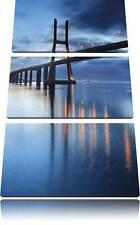 Brücke Ponte Vasco da Gama Lissabon 3-Teiler Leinwandbild Wanddeko Kunstdruck